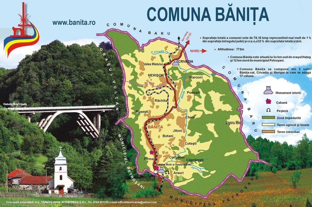 Harta comunei Bănița